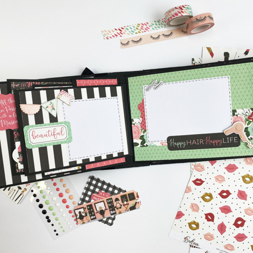 "DIY Makeup Suitcase and Mini Album set by Dorymar Perez for #EchoParkPaper with the ""Salon"" collection"