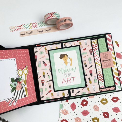 """DIY Makeup Suitcase and Mini Album set by Dorymar Perez for #EchoParkPaper with the """"Salon"""" collection"""