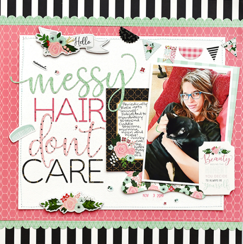 "Messy Hair scrapbook layout by Suzanna Lee for #EchoParkPaper with the ""Salon"" collection"