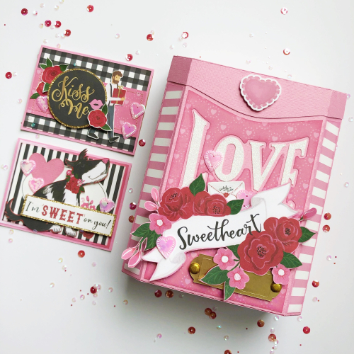 Valentine Mailbox and Card Set by Michelle Houx for #EchoParkPaper featuring the #BeMyValentine collection
