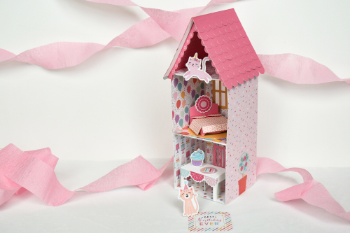 "A Sweet Birthday Dollhouse created by Michelle Zerull for #EchoParkPaper featuring the ""It's Your Birthday Girl"" Collection"
