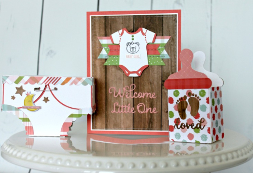 "Baby Girl Gift Set by Michelle Gallant for #EchoParkPaper with the ""Baby Girl"" Collection"