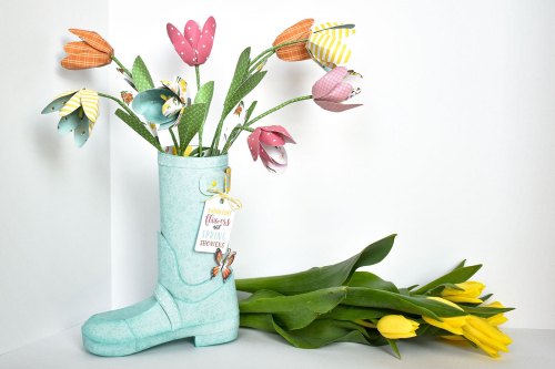 """Spring Rain Boot by Michelle Zerull for #EchoParkPaper with the """"I Love Spring"""" collection"""
