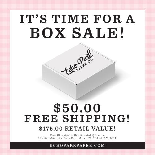 Echo Park Paper Warehouse Box Sale March 2020
