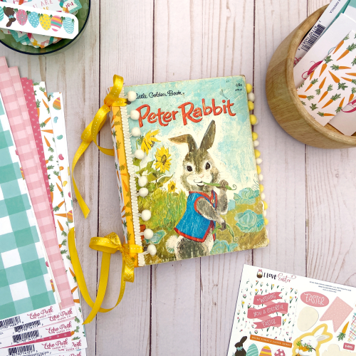 "Altered Easter Book by Lydia Cost for #EchoParkPaper featuring the ""I Love Easter"" Collection"