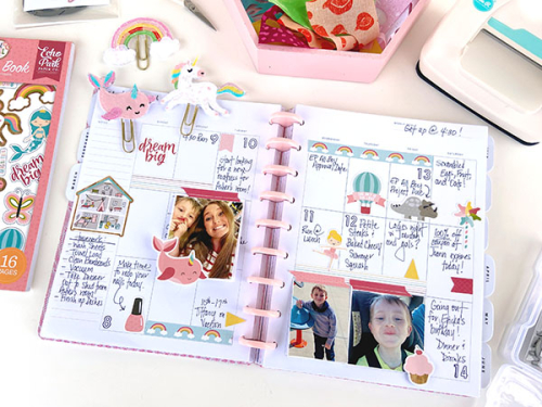 """Die-Cut felt paper clips and planner spread by Lydia Cost featuring the """"All Girl"""" Collection by #EchoParkPaper"""
