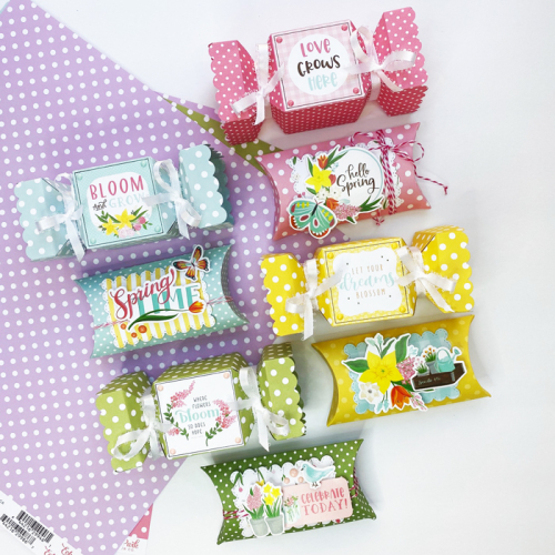"""Spring Treat Boxes by Dorymar Perez featuring the Spring """"Dots & Stripes"""" collection by #EchoParkPaper"""