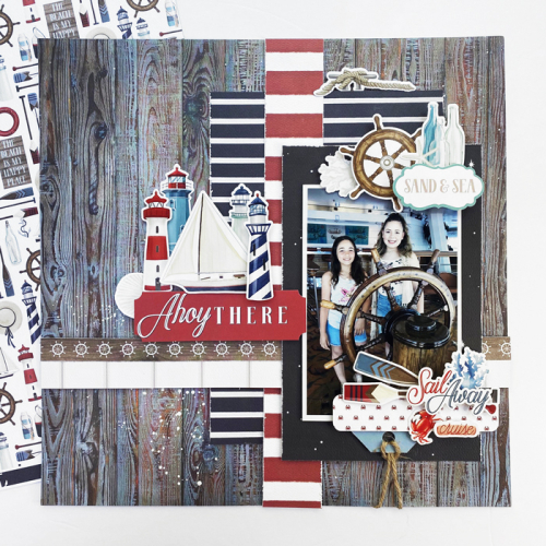 """""""By The Sea"""" layout by Dorymar Perez for #CartaBellaPaper"""