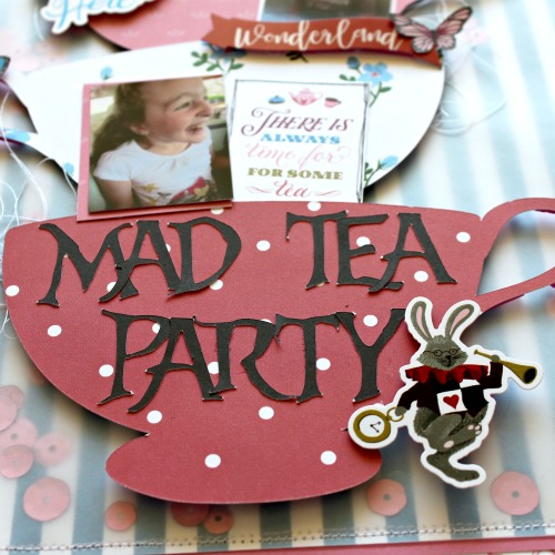 "Mad Tea Party layout by Michelle Gallant featuring the ""Alice In Wonderland No. 2"" collection by #EchoParkPaper"