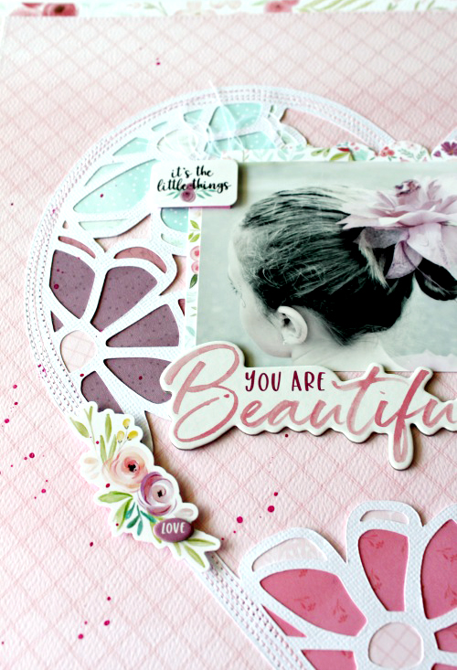 "You are beautiful - a layout by Michelle Gallant for #CartaBellaPaper with the ""Flora No. 3"" Collection"
