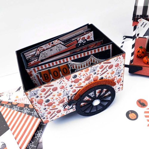 "Halloween Candy Card and Mini Album by Dorymar Perez for #CartaBellaPaper, featuring the ""Halloween Market"" Collection Kit"