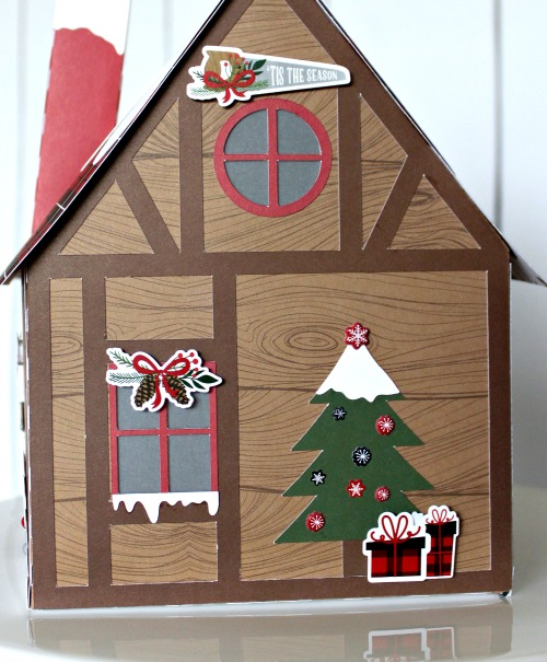 "3D Santa Cabin by Michelle Gallant for #EchoParkPaper featuring the ""Lumberjack Christmas"" collection"