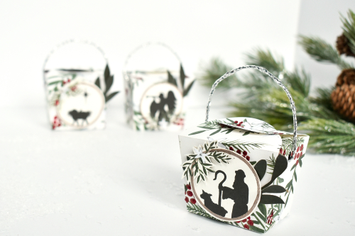 """Silent Night Giving Boxes By Michelle Zerull for #EchoParkPaper featuring the """"Silent Night"""" collection and designer dies"""