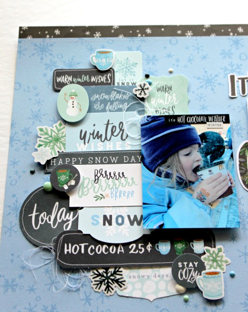 "Hot Cocoa layout by Michelle Gallant for #CartaBellaPaper featuring the ""Winter Market"" collection"