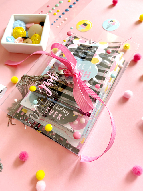 "Clear tied birthday mini album by Lydia Cost for #EchoParkPaper featuring the ""Magical Birthday Girl"" collection"