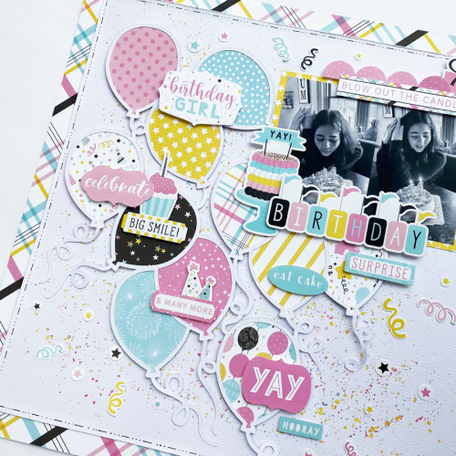 "Birthday Surprise layout by Dorymar Perez for #EchoParkPaper featuring the ""Magical Birthday Girl"" collection"