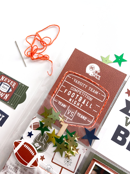 "Football pocket page by Lydia Cost for #EchoParkPaper featuring their ""Football"" Collection"