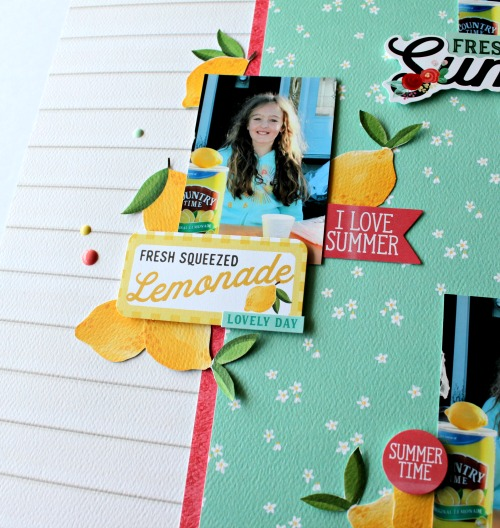 "Fresh summer Lemonade layout by Michelle Gallant featuring the ""Summer Market"" collection by #CartaBellaPaper"
