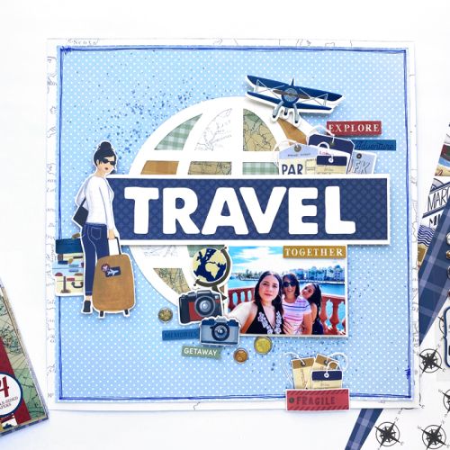 "Travel layout by Dorymar Perez featuring the ""Scenic Route"" collection by #EchoParkPaper"