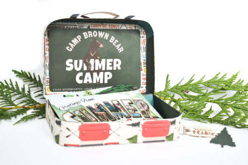 "Vintage Inspired Luggage Set by Michelle Zerull featuring the ""Summer Camp"" collection by #CartaBellaPaper"