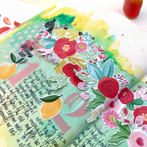 "Art Journal spread created by Lydia Cost for #EchoParkPaper inspired by the ""Summer Market"" Collection"