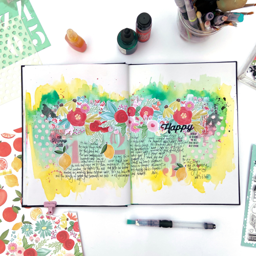 "Art Journal spread created by Lydia Cost for #CartaBellaPaper inspired by the ""Summer Market"" Collection"