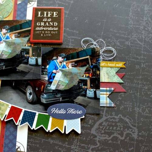 "Adventure Awaits Layout by Michelle Gallant for #EchoParkPaper featuring the ""Scenic Route"" Collection"