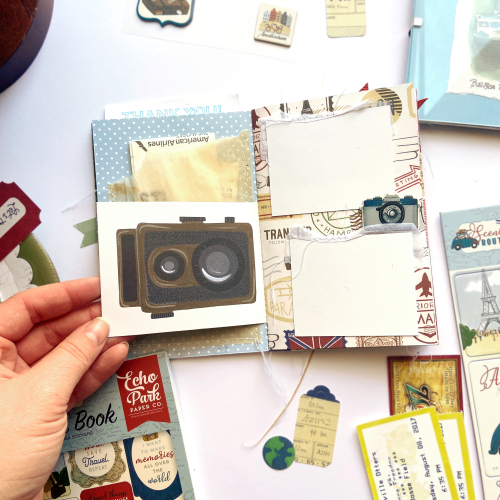 "Travel Junk Journal by Lydia Cost featuring the ""Scenic Route"" collection by #EchoParkPaper"