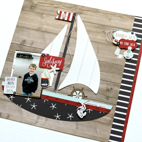 "Sail Away layout by Michelle Gallant for #EchoParkPaper featuring the ""By The Sea"" Collection"