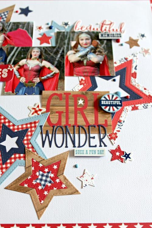 Girl Wonder layout by Michelle Gallant for #EchoParkPaper featuring Designer Dies