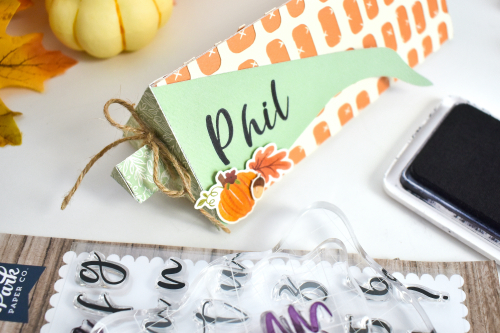 Personalized Thanksgiving Treat Boxes by Michelle Zerull featuring Designer Stamps by #EchoParkPaper
