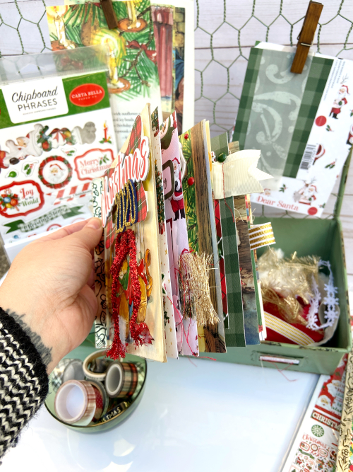 """Altered Christmas Book by Lydia Cost featuring the """"Dear Santa"""" Collection by #CartaBellaPaper"""