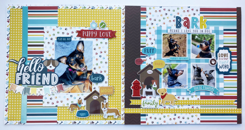 "Puppy Love scrapbook pages featuring the ""My Dog"" collection by Dorymar Perez for #EchoParkPaper"
