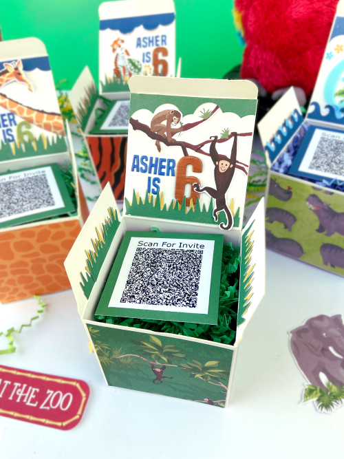"Zoo Birthday Box Invitations by Lydia Cost for #CartaBellaPaper, featuring the ""Zoo Adventure"" Collection"
