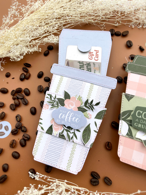 "Coffee Cup gift card holders featuring ""Coffee & Friends"" by Lydia Cost for #EchoParkPaper"