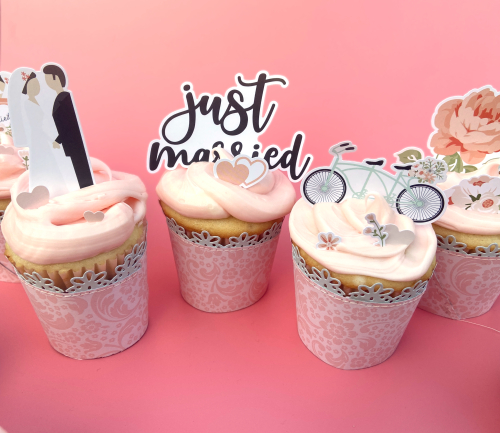 "Cupcake topper by Lydia Cost for #EchoParkPaper with the ""Our Wedding"" Collection"