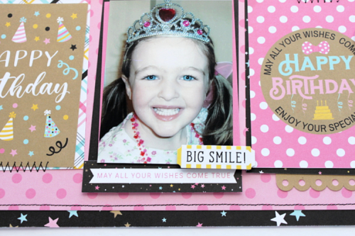 "Happy Birthday Layout by Michelle Gallant for #EchoParkPaper featuring the ""Magical Birthday Girl"" Collection!"