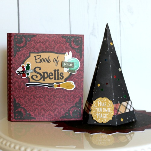 "Witch Hat and Spell Book Set by Michelle Gallant with the ""Witches & Wizards"" collection for #EchoParkPaper"