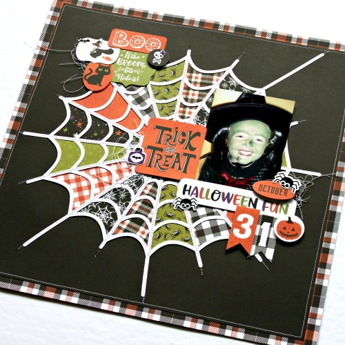 "Trick or Treat layout by Michelle Gallant for #EchoParkPaper featuring the ""I Love Halloween"" Collection"