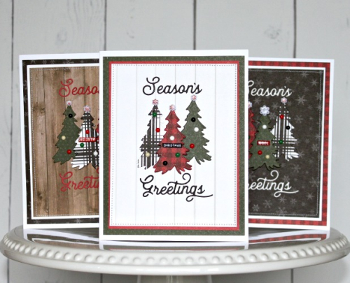 "Christmas Card trio by Michelle Gallant featuring the ""Farmhouse Christmas"" collection by #CartaBellaPaper"