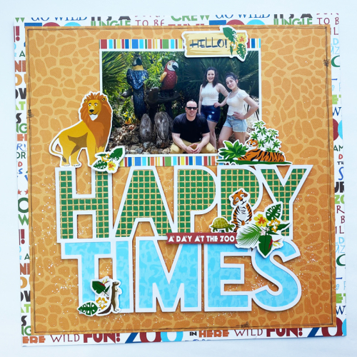 "Happy Times layout by Dormar Perez for #CartaBellaPaper featuring the ""Zoo Adventure"" collection"